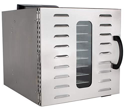 Beeketal 'BDA-15' Dörrautomat aus Edelstahl mit 10 Etagen, Zeitschaltuhr (max. 24h), einstellbarer Temperatur (30-90 °C) und LED Bedienfeld - Profi Gastro Dörrgerät inkl. 10 Einlegegitter