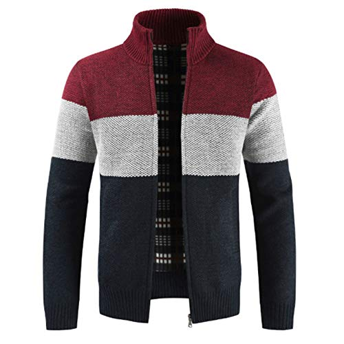 YJNH Herren Stehkragen Strickjacke Pullover Outwear Color Matching gestreiften Reißverschluss Winter dicken Vlies warmen Hoodie Outwear Outdoor Casual Daily Wear M