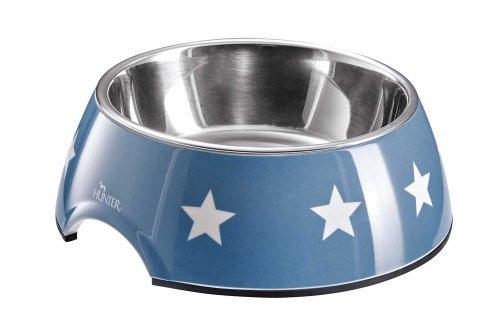 HUNTER Aarhus Melamin-Napf, Futternapf, Trinknapf, für Hunde und Katzen, mit Edelstahlnapf, 700 ml, blau/weiß