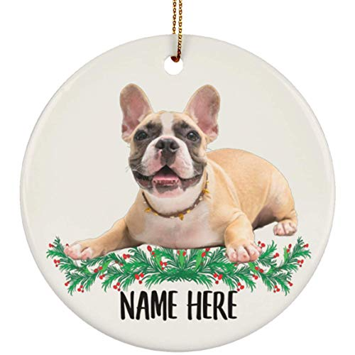 Lovesout Personalized Name Fawn French Bulldog Christmas Tree Ornament Circle Ceramic