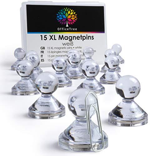 OfficeTree Neodym Magnet Pins - 15 XL Magnete Transparent - Magnet Männchen als Blickfang etxra starke Haftung - bunte Magnete für Magnettafel, Kühlschrank oder Whiteboard