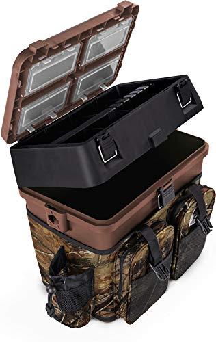 normani Sitzkiepe Angelobox Angel-Sitzbox Angelrucksack Angeltasche Angelkoffer Angler-Gerätekasten mit 4 Tackle Boxen Farbe Camouflage
