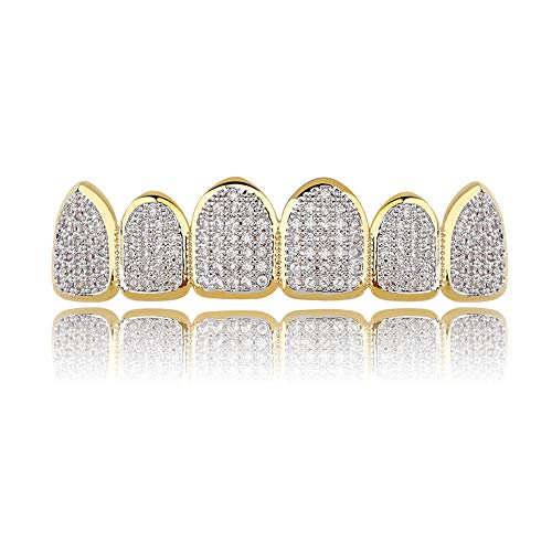 JINAO 18k Gold Plated All Iced Out Luxury CZ Gold Top Teeth Grillz Set Men Women with Extra Molding Bars Included (Classic top Grillz)