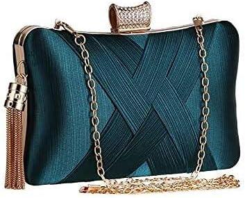 Women's Evening Handbags Tassel Craft Women's Hand-Held Party Bag Evening Bag (Color : Green)
