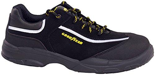 Goodyear G1388601C S3 SRC - Calzado de piel nobuk hidrorrepelente, Negro, 44 EU