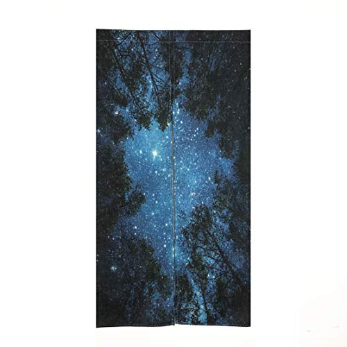 "MYRU Japanese Noren Doorway Curtain Tapestry 33.5"" Width x 59"" Long (Forest Starry)"