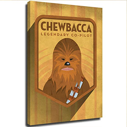 S-ANT Star Wars Art Prints Living Room Bedroom Art 12' x 16' Star Wars Chewbacca Concept Poster for Boy & Girls Bedroom, Wooden Framed