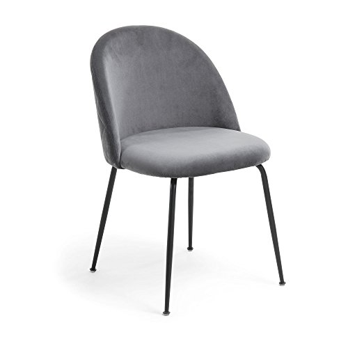 Kave Home - Silla Ivonne Terciopelo Gris