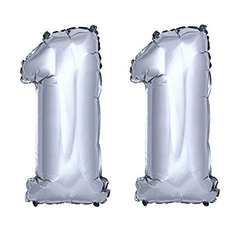 DekoRex® 11 als Folienballon Luftballon Zahlenballon Jahrestag Geburtstag in Silber 80cm hoch