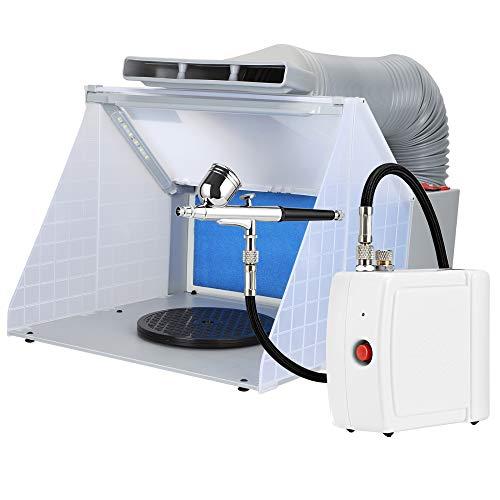 Kacsoo - Kit de banco de trabajo para cabina de pintura con aerógrafo portátil, ventilador de escape, pintura para hornear, con filtro, mesa giratoria, caja de pintura en aerosol, banco de trabajo