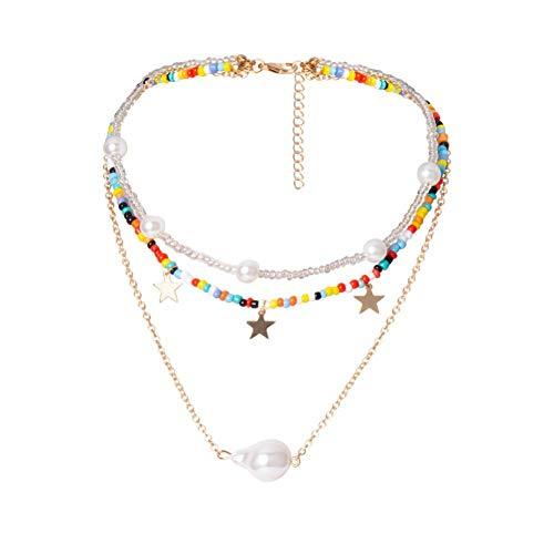 Halskette Boho Rainbow Small Beads Halskette Fashion Star/Pearl Anhänger Halskette für Frauen geschichtete Bunte Perlenkette am Hals