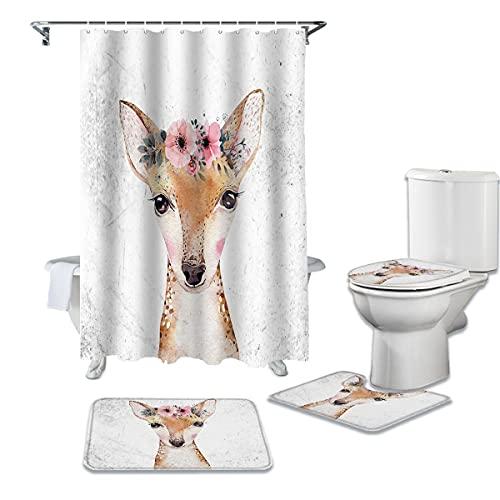 WWGBHJL Cortina de Ducha y Manta de baño con Estampado Animal de Flor de Acuarela de Ciervo de Dibujos Animados Conjunto de Cortina de Ducha Moderna para baño decoración del hogar