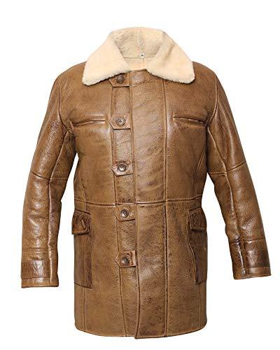 Men's Swedish Bomber Distressed Brown Real Shearling Sheepskin Leather Coat (3XL)