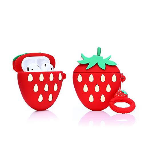ZAHIUS Airpods Carcasa Funda de Silicona Compatible con Airpods de Apple 1 y 2 [Diseño de Frutas y Verduras 3D] (3D Fresa)