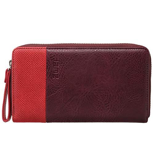 Zwei Eva EV2 Reißverschluss Geldbörse Portemonnaie Geldbeutel Brieftasche, Farbe:Plum