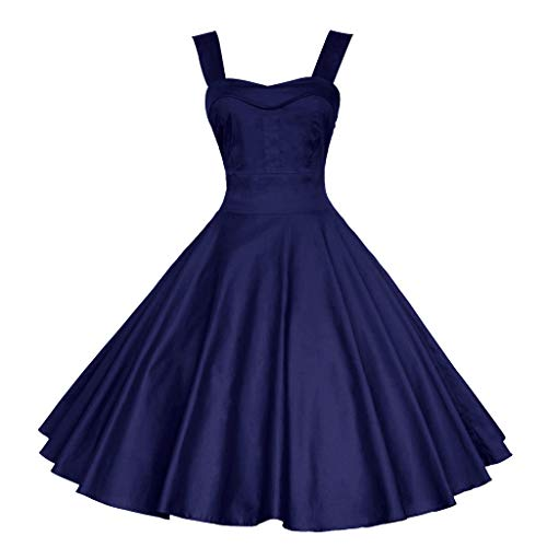 BURFLY Original BURFLY Sommerkleid Jahre Retro Damen Country Style Rock Kurzes Kleid Ärmellos Swing Cocktail Party Kleid