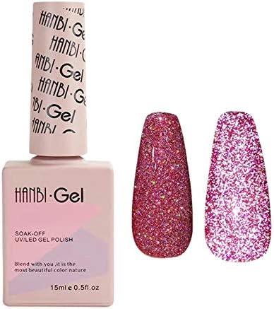 qwrew Diamond Gel Nail Reflective Sparkling Nail Polish Bright Glitter Bungee Soak Off UV Nail product image