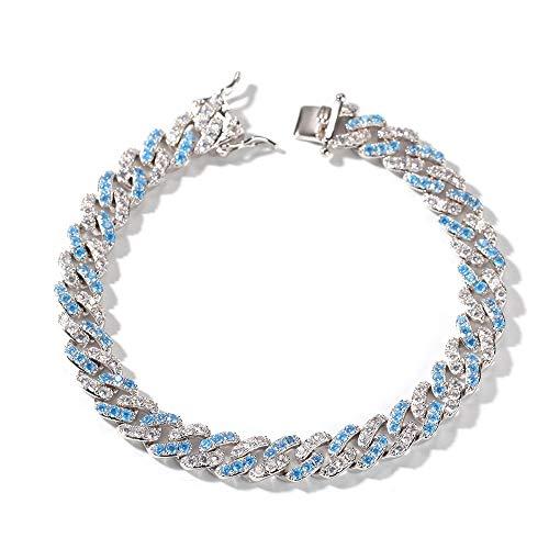 Levuyou Cubic Hip Hop Halskette Armband Schmuck Blau Weiß Zirkonia Bling Prong Link Kette Halskette Armband, 7 Zoll Armband