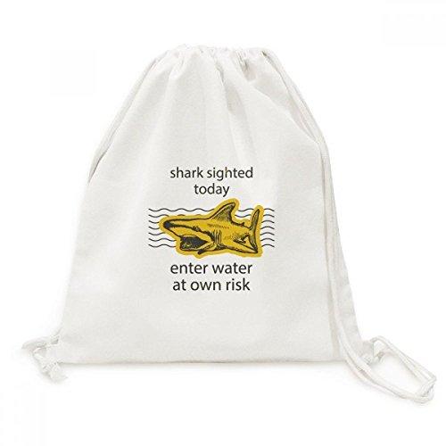 DIYthinker haai invoeren water op eigen risico canvas trekkoord rugzak reizen winkelen zakken