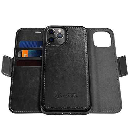 Newseego Premium Leder Kompatibel mit iPhone 12 Pro Max Lederhülle (6,7 Zoll), Wallet Hülle [Abnehmbare 2-in-1 Wallet Folio] [Premium Leder] 2-Wege-Ständer Flip Klapp-Hülle - Schwarz