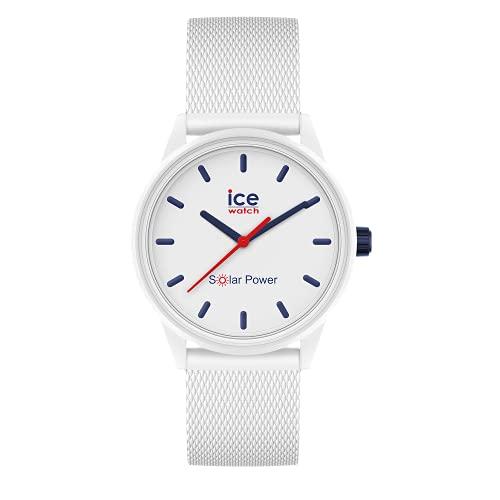 ICE-WATCH - Ice Solar Power Sailor Mesh Reloj con Correa de Silicona, Blanco para Mujer, Small, 018482