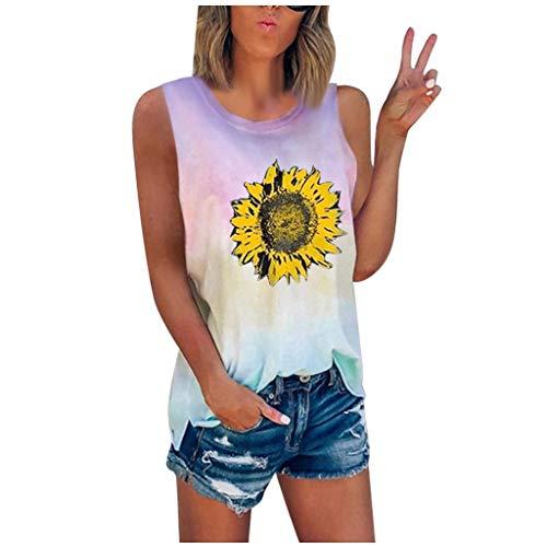 Sunhusing Women's Tie-Dye Sunflower Printed Crew Neck Sleeveless Tank Tops Summer Loose Plus Size T-Shirt Vest(Pink,Large)