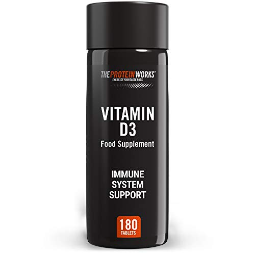 THE PROTEIN WORKS Vitamin D3 Supplement Tablets | 2500 IU | Immune System Support | Easy to Swallow | 6 Month Supply | Cholecalciferol | Vegetarian | 180 Tablets