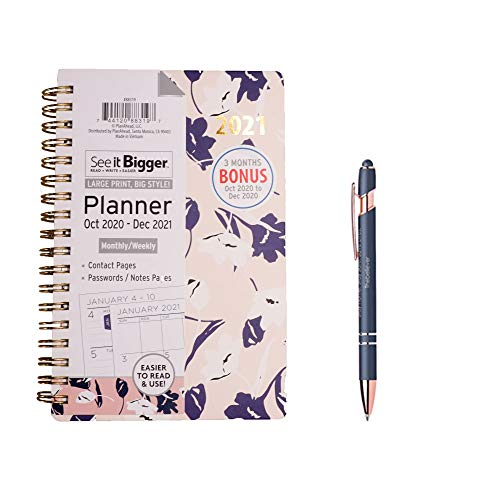 "PlanAhead See it Bigger October 2020-December 2021 Monthly / Weekly 4'' X 6'', ''FLORAL"" and Stylus Pen"
