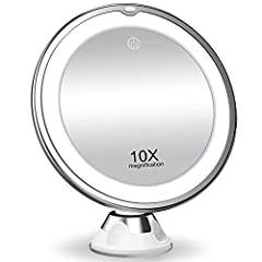 10X Magnification; ideal for applying makeup, wearing contact lenses and eyebrow tweezing , shaving, hair styling, facial care 3 color lighting and adjustable brightness; Press the touch screen switch, changing the color of light; hold the touch swit...