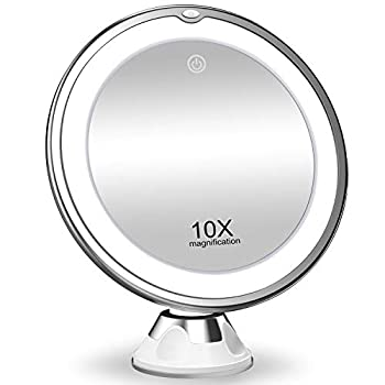 KOOLORBS 10X Magnifying Makeup Mirror with Lights 3 Color Lighting Intelligent Switch 360 Degree Rotation Powerful Suction Cup Portable  Good for Tabletop Bathroom Traveling