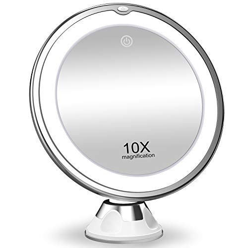 KOOLORBS 10X Magnifying Makeup Mirror with Lights, 3 Color Lighting, Intelligent Switch, 360 Degree...