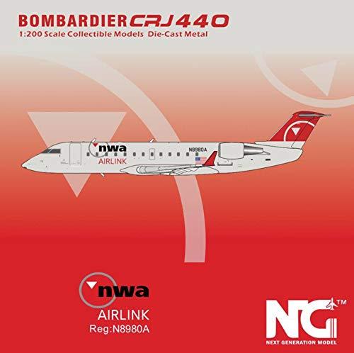 NG Model NGM44002 1:200 NWA AirLink CRJ-440 Reg #N8980A (pre-Painted/pre-Built)