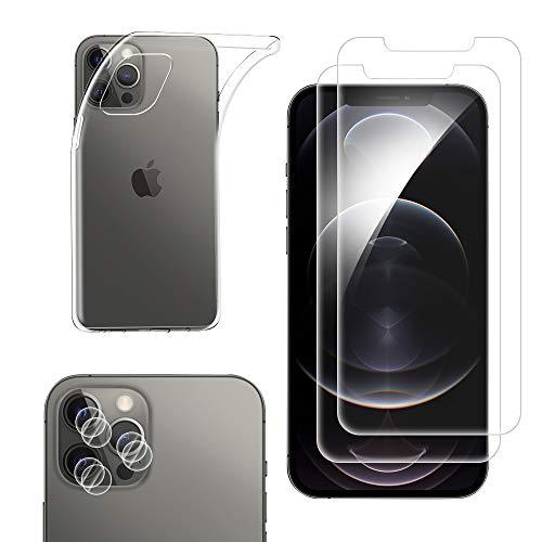 Qoosea Funda iPhone 12 Pro MAX 6.7'+ 2 Pack Cristal Templado Protector de Pantalla + 2 Pack Protector de Lente de Cámara, Silicona Transparente TPU Carcasa Cover para iPhone 12 Pro MAX 6.7'