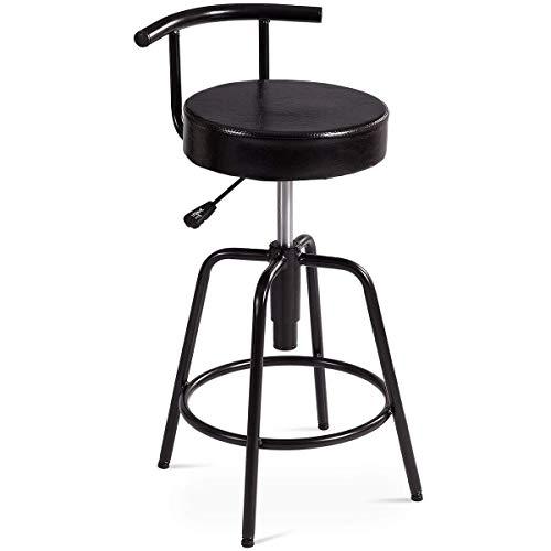 360 ° draaibare barkruk W/PU-leer buitenkant rugleuning gaslift verstelbaar en voetensteun, werkstoelen voor het ontbijt, bar, bar, keuken en huis Type: Ring Footrest