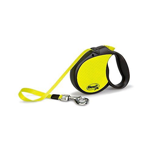 flexi neon reflect L riem 5 m neon/zwart voor honden tot max. 50 kg.