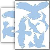 Vogelschutz und Fensterschutz - 10 Aufkleber - Schutz vor Vogelschlag - Sticker Vögel (Babyblau)