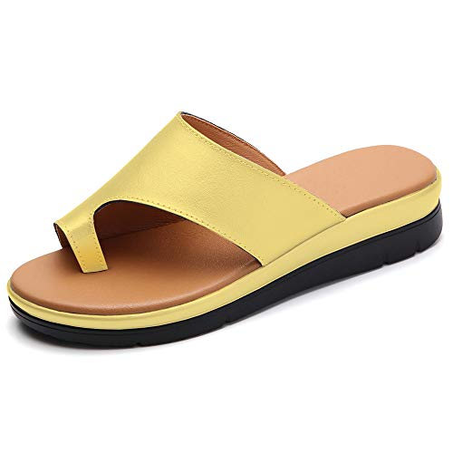 KINOW Women Comfy Platform Sandals Bunion Correction Sandals Summer Leather Flip Flops Yellow