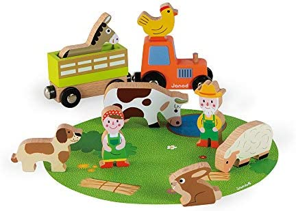 Janod Mini Story Box Toy 10 Piece Imagination and Role Playing On The Farm Painted Wooden People product image