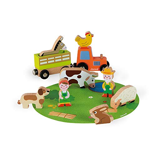 Janod Mini Story Box Toy - 10 Piece Imagination and Role Playing On The Farm Painted Wooden People  Tractor Trailer and Animal Play Set for Ages 3+ (J08576)
