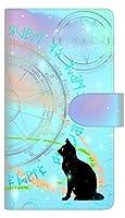 楽天モバイル Rakuten Hand 手帳型 スマホ ケース カバー 【ステッチタイプ】 YJ329 魔法陣猫 キラキラ パステル 横開き UV印刷