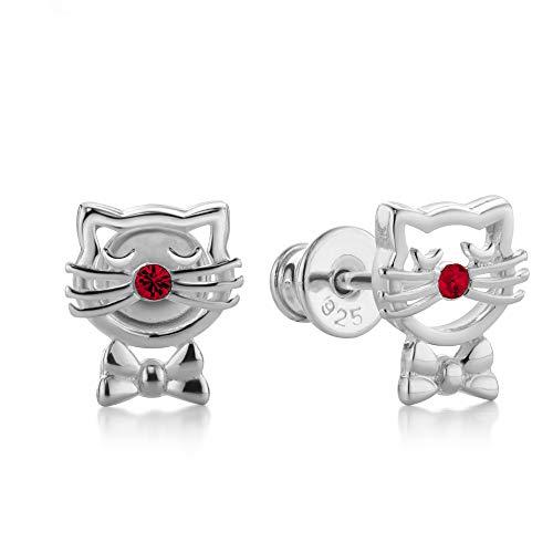 butterfly Mädchen Ohrstecker Sterling-Silber 925 rot Swarovski Elements Original Katze Satin-Beutel Einschulung Geschenk