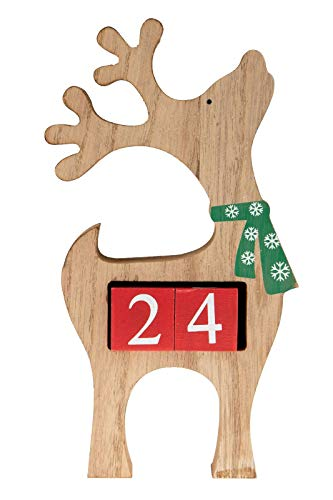 Clever Creations Wooden Christmas Advent Calendar, Countdown to Christmas, Festive Holiday Decoration, Brown Reindeer