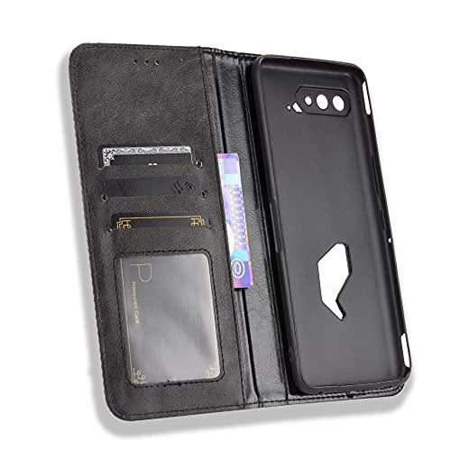MingMing Lederhülle für Asus ROG Phone 5 Hülle, Flip Hülle Schutzhülle Handy mit Kartenfach Stand & Magnet Funktion als Brieftasche, Cover für Asus ROG Phone 5, Schwarz
