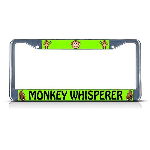 Monkey Whisperer Metal License Plate Frame Tag Border Two Holes Perfect for Men Women Car garadge Decor