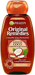 Garnier Original Remedies - Champú Disciplinante con Aceite de Coco y Manteca de Cacao para Pelo Rebelde y Difícil de Alis...