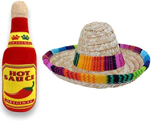 Baja Ponchos Dog Sombrero and Hot Sauce Plush Toy Pack Funny Dog Costume and Chew Squeak Toy product image