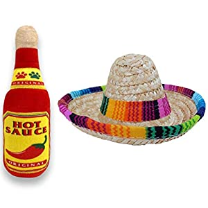 Baja Ponchos Dog Sombrero and Hot Sauce Plush Toy Pack – Funny Dog Costume and Chew Squeak Toy – Chihuahua Clothes – Mexican Party Decorations