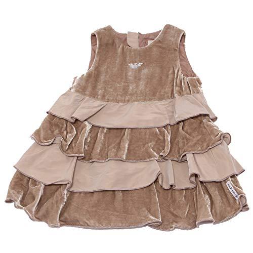 Armani 0292K Abito Bimba Girl Baby Vestito Chenille/Silk Light Brown Dress [12...