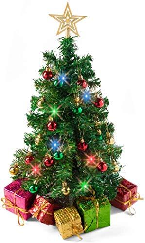 Tabletop Christmas Tree (Stand) with Multi-Color LED Lights (UK Plug), Star Treetop and 5 Gift Boxes