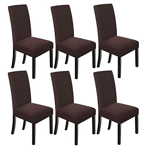 NORTHERN BROTHERS Dining Chair Covers Stretch Chair Covers Parsons Chair Slipcover Chair Covers for Dining Room Set of 6,Chocolate